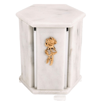 Hexagon Silver White Danby Marble Urn