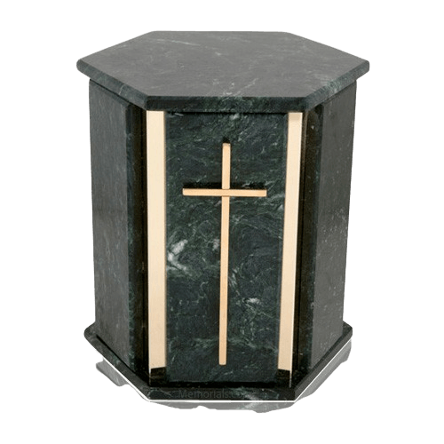 Hexagon Blue Tone Granite Cremation Urn