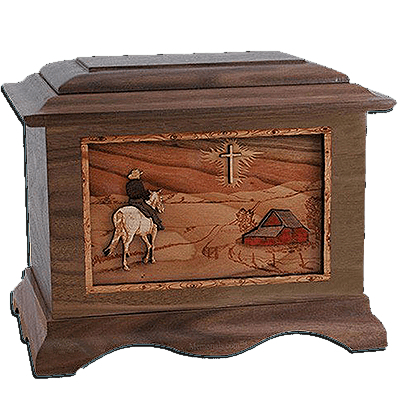 Horse & Cross Walnut Cremation Urn For Two