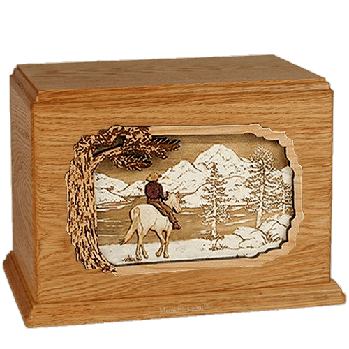 Horse & Lake Mahogany Companion Urn