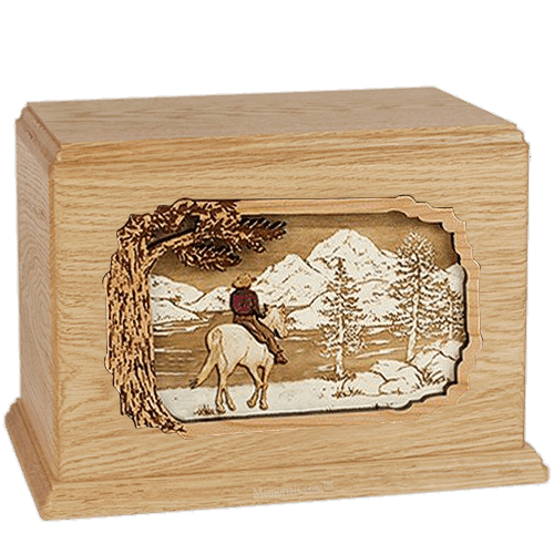 Horse & Lake Maple Companion Urn