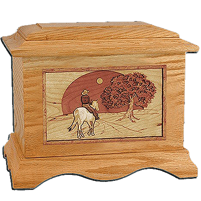 Horse & Moon Oak Cremation Urn for Two