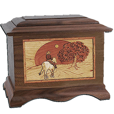 Horse & Moon Walnut Cremation Urn For Two