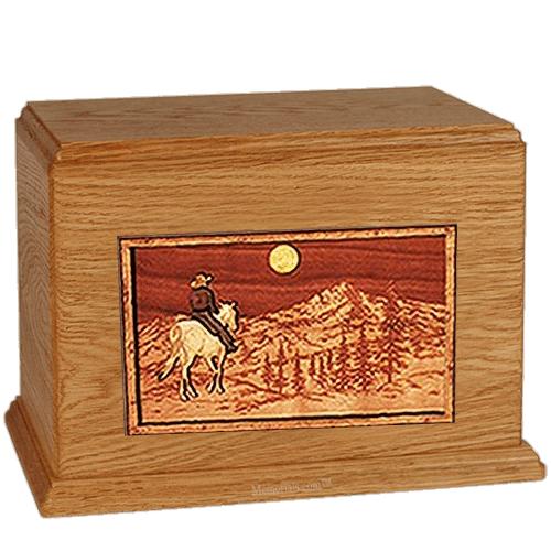 Horse & Mountain Mahogany Companion Urn
