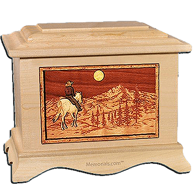 Horse & Mountain Maple Cremation Urn for Two
