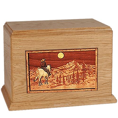 Horse & Mountain Oak Companion Urn