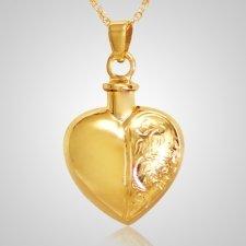 Half Etched Heart Keepsake Pendant IV