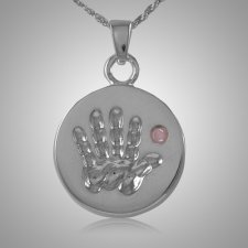 Pink Stone Handprint Keepsake Jewelry
