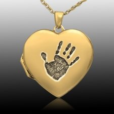 Handprint 14k Gold Locket Keepsake