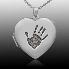 Handprint 14k White Gold Locket Keepsake