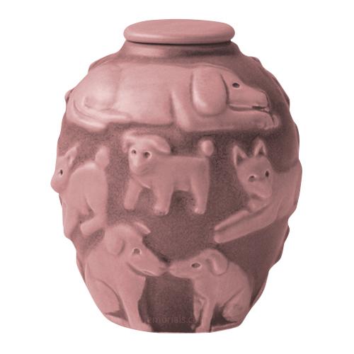 Happy Dog Blush Cremation Urn