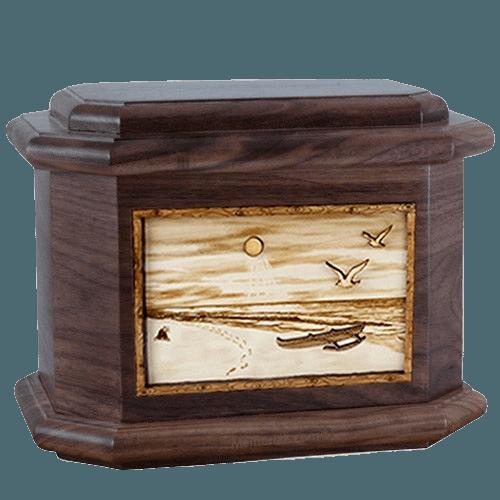 Hawaiian Walnut Octagon Cremation Urn
