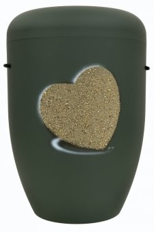 Heart Biodegradable Urn in Green