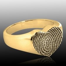Heart 14k Gold Cremation Print Ring