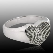 Heart 14k White Gold Cremation Print Ring
