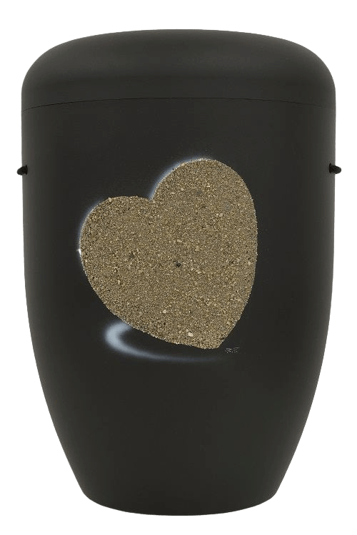 Heart Biodegradable Urn in Black