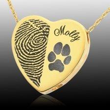 Heart Name & Paw 14k Gold Print Cremation Keepsake