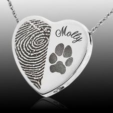 Heart Name & Paw Print Cremation Keepsakes