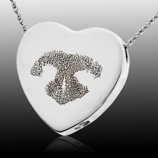 Heart Nose 14k White Gold Print Cremation Keepsake