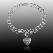Heart Sterling Cremation Print Bracelet