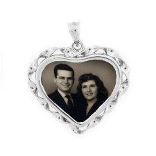 Heart White Gold Photo Pendant