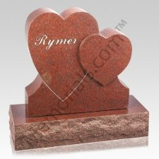 Heart on Heart Companion Granite Headstone