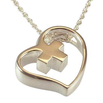 Heart Cross Slider Keepsake Pendant