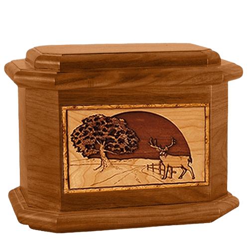 Heartland Deer Mahogany Octagon Cremation Urn