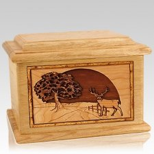 Heartland Deer Oak Memory Chest Cremation Urn