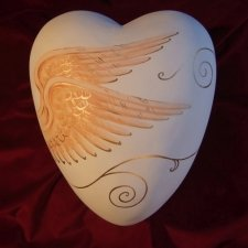 Heavenly Ceramic Heart Urn