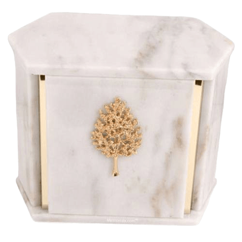 Hexagon White Carrara Marble Companion Urn