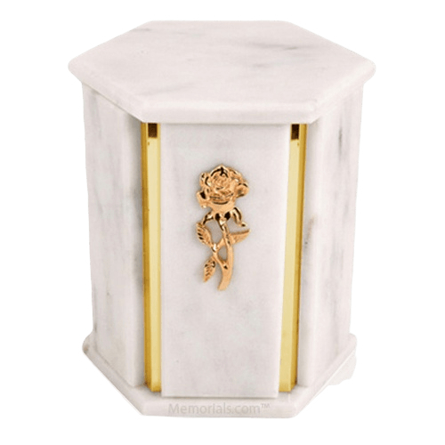 Hexagon White Danby Marble Urn