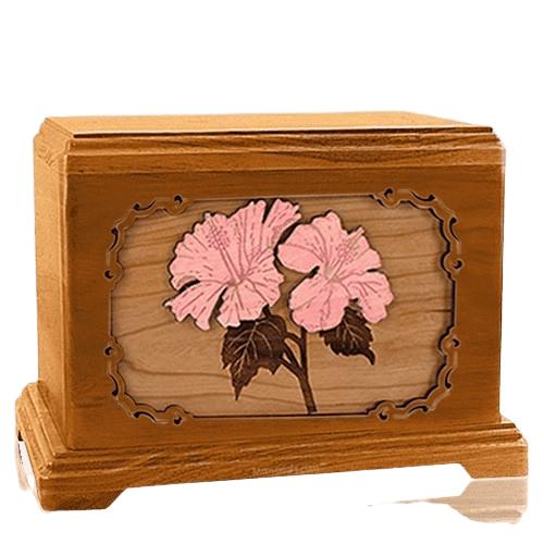 Hibiscus Mahogany Cremation Urn