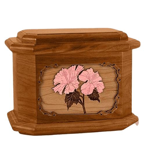 Hibiscus Mahogany Octagon Cremation Urn