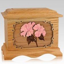 Hibiscus Oak Cremation Urn