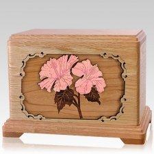 Hibiscus Oak Hampton Cremation Urn