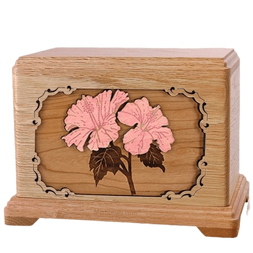 Hibiscus Oak Hampton Cremation Urn