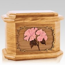 Hibiscus Oak Octagon Cremation Urn