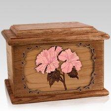 Hibiscus Walnut Memory Chest Cremation Urn