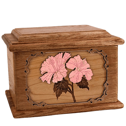 Hibiscus Walnut Memory Chest Cremation Urn