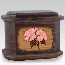Hibiscus Walnut Octagon Cremation Urn