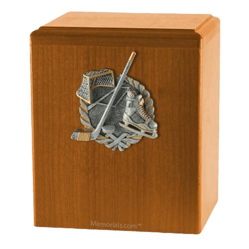 Hockey Fan Oak Cremation Urn