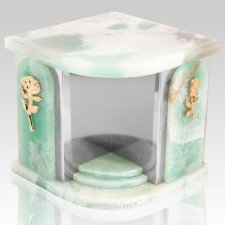 Home Silver Green Onyx Companion Urn