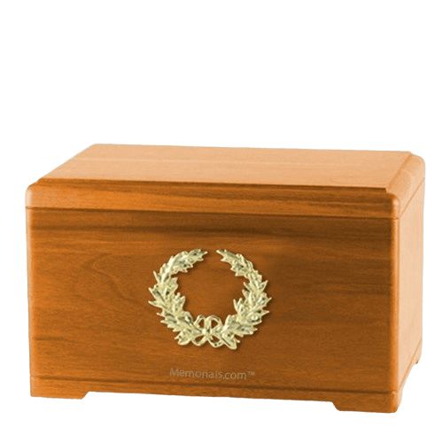 Honor Wreath Oak Cremation Urn