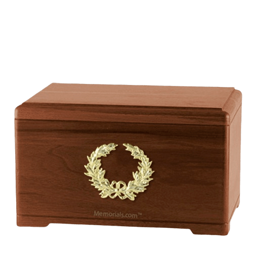 Honor Wreath Walnut Cremation Urn