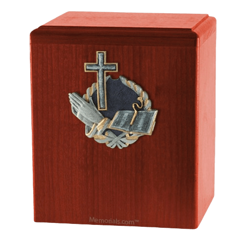 Praying Cross Cherry Cremation Urn