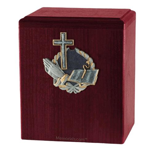 Praying Cross Rosewood Cremation Urn