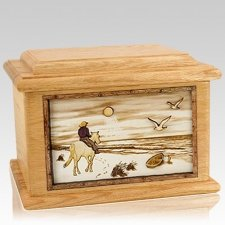 Horse Beach Oak Memory Chest Cremation Urn