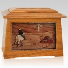 Horse & Cross Mahogany Aristocrat Cremation Urn