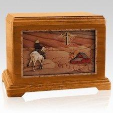 Horse & Cross Mahogany Hampton Cremation Urn